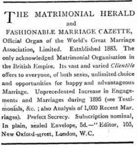 Advertisement for Matrimonial Herald published in the Westminster Budget, London, GB. November 1, 1895. [Image: Newspapers.com]