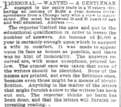 Portion of an article printed in Chicago Daily Tribune on Sunday, 28 December, 1884. (Part 2)