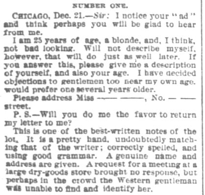 Portion of an article printed in Chicago Daily Tribune on Sunday, 28 December, 1884. (Part 3)