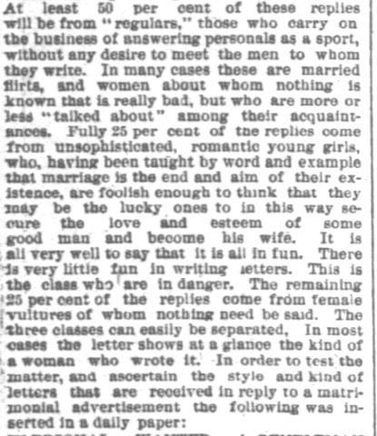 Portion of an article printed in Chicago Daily Tribune on Sunday, 28 December, 1884. (Part 1)