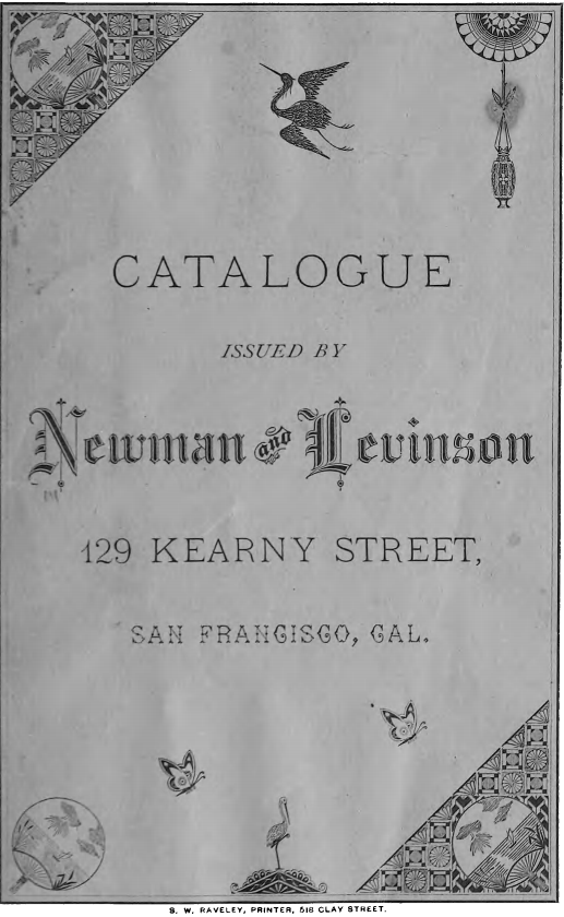 Kristin Holt | Mail-Order Catalogues: Timeline and Truth. Newman and Levinson, department store in San Francisco, California, sells by Catalogue, 1881.