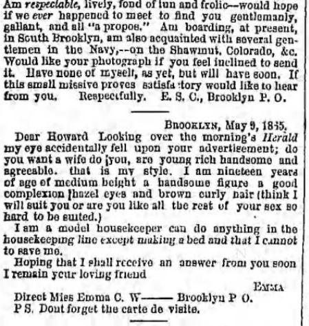The Brooklyn Daily Eagle. Brooklyn NY. 10 May 1865. Part 5 of 6.