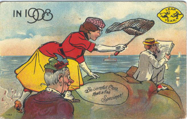 PostcardLeapYearBeCarefulClara1908. Public Domain. Wikimedia Commons