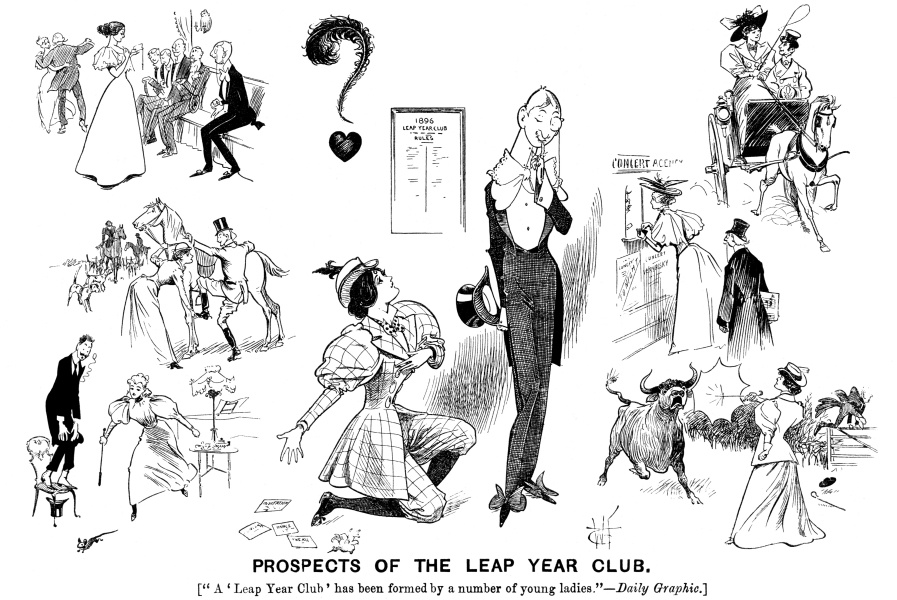 Prospects of Leap Year Club. Women in man's roles. charicatures