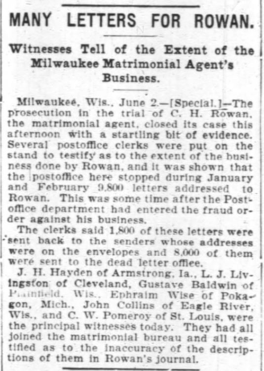 Rowan Many Letters. After attempted bribery. Chicago Daily Tribune. 3 June 1899