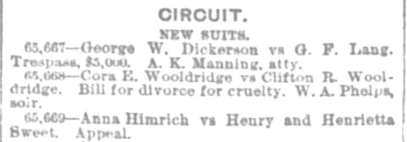 Suit of divorce CORRECTED for cruelty. InterOcean 28 Mar 1888
