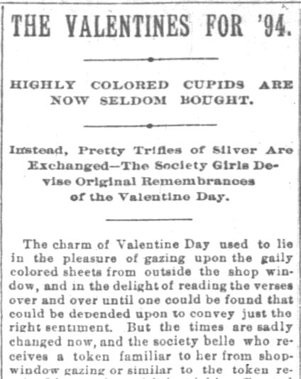 "The Indianapolis News. Indianapolis IN. 10 February 1894. The Valentines for '94. ""Original Cards Only"". Part 1 of 3"