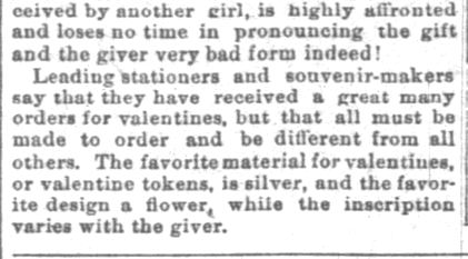 "The Indianapolis News. Indianapolis IN. 10 February 1894. The Valentines for '94. ""Original Cards Only"". Part 2 of 3"