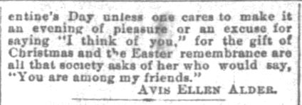 "The Indianapolis News. Indianapolis IN. 10 February 1894. The Valentines for '94. ""Original Cards Only"". Part 3 of 3"