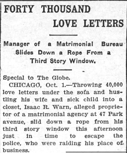 40 Thousand Love Letters. Part 1. The Saint Paul Globe, 2 October, 1902.