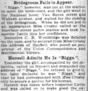 A portion of the article from the Chicago Daily Tribune, transcribed immediately above. Transcription stands in place of this article segment as the scan's quality is difficult to read.