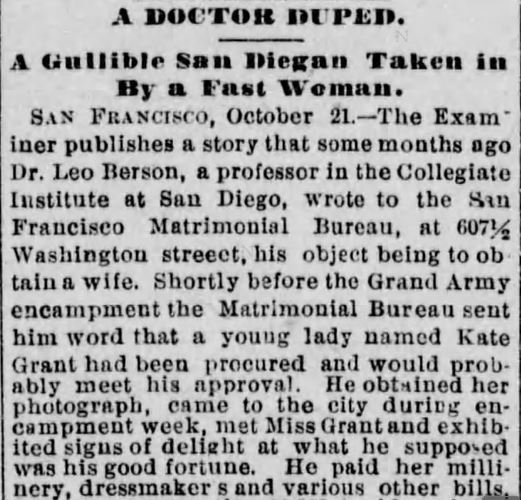 A Doctor Duped. part 1. Los Angeles Herald. 22 October, 1886.