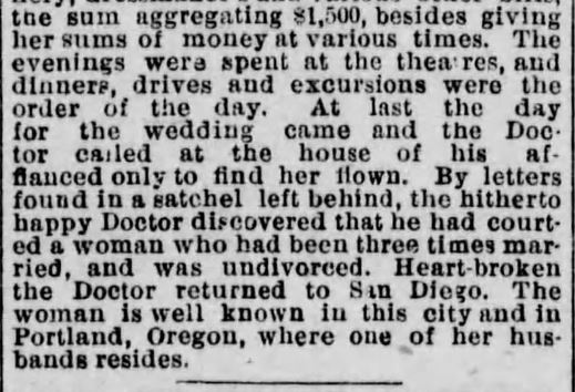 A Doctor Duped. part 2. Los Angeles Herald. 22 October, 1886.
