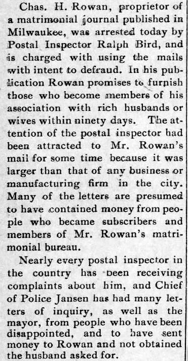 Charles H. Rowan. Sedalia Weekly Democrat. Sedalia, Mississippi. 15 December, 1898