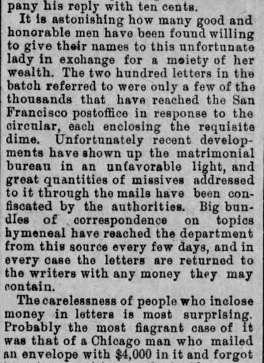 Duped People. Part 2. The Plain Speaker. Hazelton PA. 7 July 1890