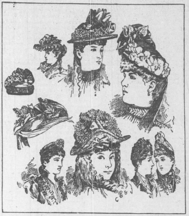Easter Bonnet image Styles. Chicago Daily Tribune. 6 Apr 1890 CORRECTED