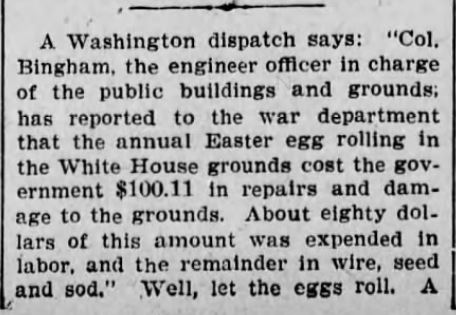 Easter Egg Roll, Part 1. The Scranton Republican, Scranton Pennsylvania, 16 May 1901.