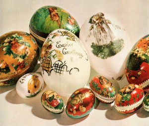 "Gift Easter Eggs (the white are ""milk glass""), from the Victorian American period, This Fabulous Century: 1870-1900, p 64."