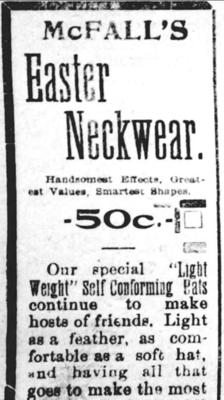 Easter Neckware Ad. Part 1. The York Daily. York PA. 18 Apr 1898 ADJUSTED