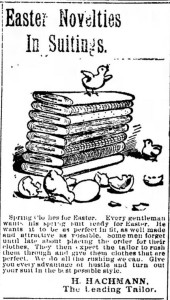 Easter Novelty Suitings. Mens. Woodland Daily Democrat. Woodland CA. 29 Apr 1898
