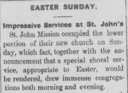 Easter Sunday Services held both morning and evening. Black Hills Weekly Pioneer. Deadwood South Dakota. 23 April 1881