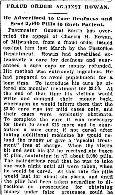 Fraud Order Against Rowan. Part 1. The Tennessean. Nashville, TN. 3 May, 1901. Page 4.