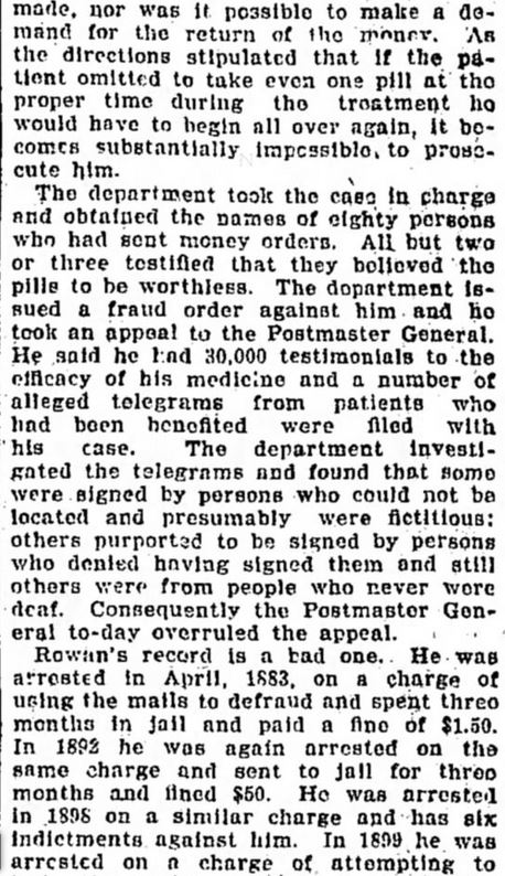 Fraud Order Against Rowan. Part 2. The Tennessean. Nashville, TN. 3 May, 1901. Page 4.