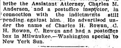 Fraud Order Against Rowan. Part 3. The Tennessean. Nashville, TN. 3 May, 1901. Page 4.