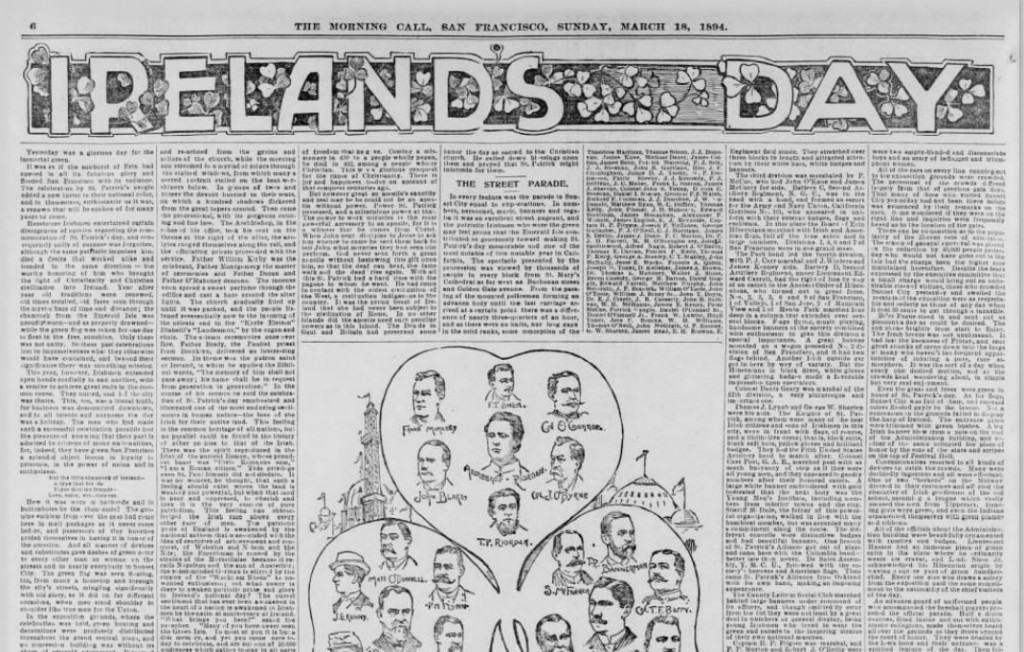 Ireland's Day. Whole Article. Part 1. The san Francisco Call. 18 Mar 1894.