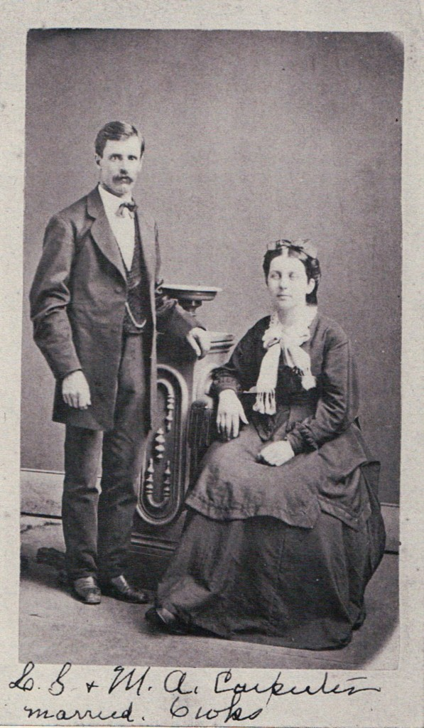 Leroy and Martha Carpenter, six weeks after their marriage (wedding date: April 25, 1872). Love in an Envelope