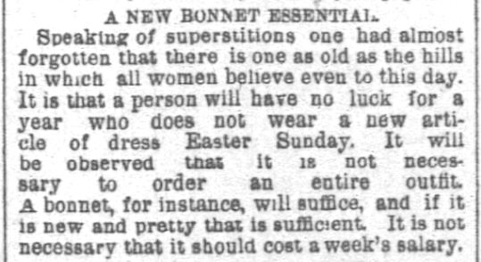 New Easter Bonnet Essential. Chicago Daily Tribune. Chicago IL. 6 April 1890