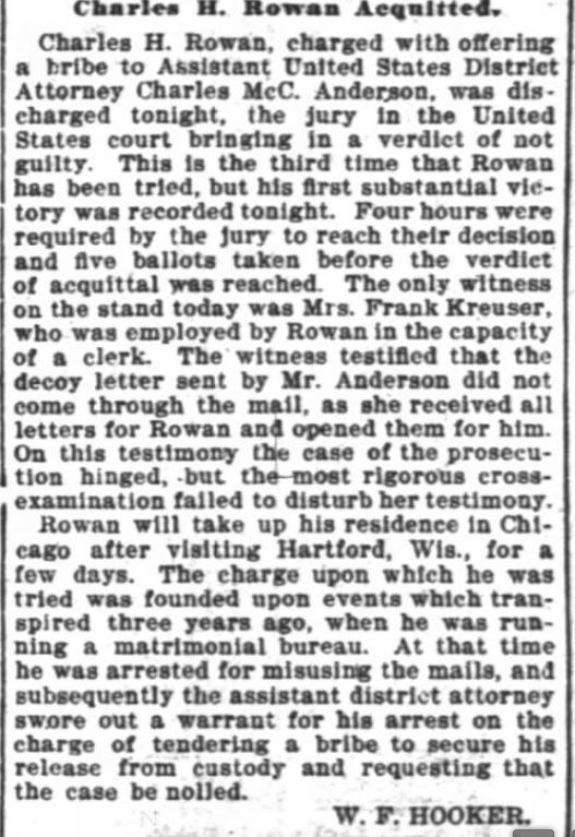 Rowan acquitted. The Inter Ocean, Chicago, Illinois. 23 January, 1902.