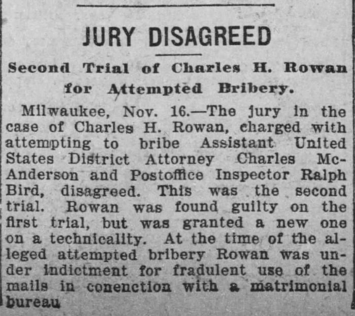 Rowan's Jury Disagreed. The Minneapolis Journal. 16 November, 1901, page 13.