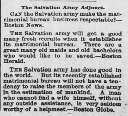 Salvation Army opens matrimonial bureau. The Monroeville Breeze. Monroeville, Indiana. 28 April, 1892.