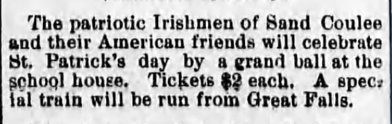 St Patricks DANCE. Great Falls Weekly Tribune, Great Falls, MT. 12 March, 1890.