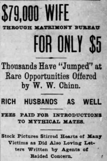 Stock Photos sent by Chinn's Matrimonial Agency. Header Image. st. Louis Post-Dispatch 30 October, 1902.