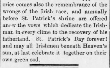 This is St. Patrick's Day. Salt Lake Evening Democrat. Salt Lake City, Utah, 17 March, 1887.