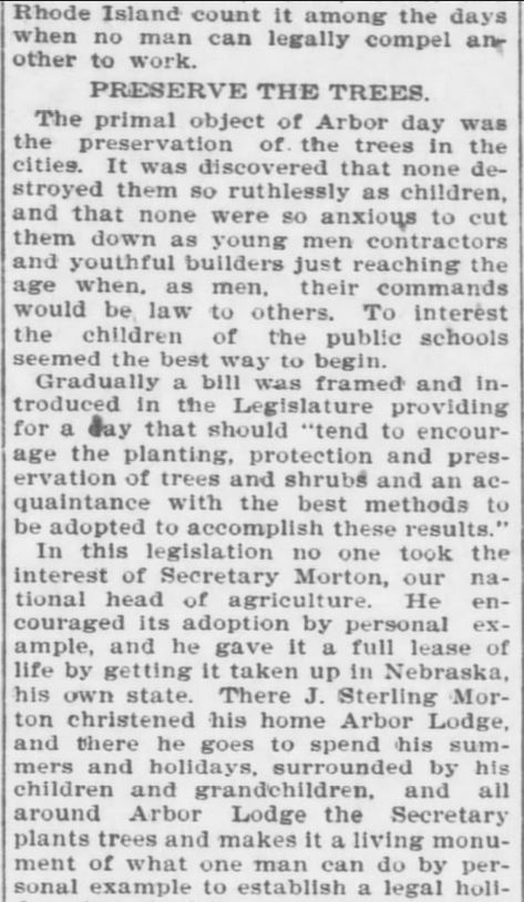 Arbor Day. Part 2. The Topeka Daily Capital. Topeka KS. 22 April 1896