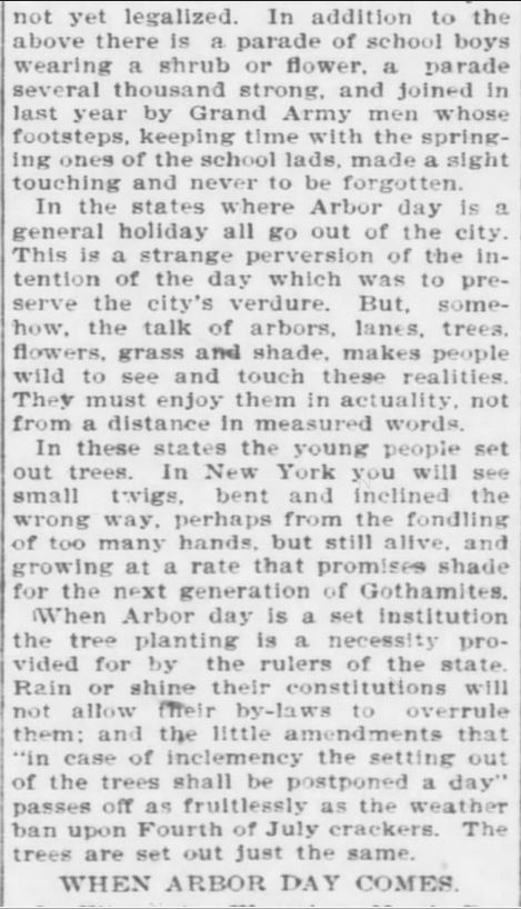 Arbor Day. Part 4. The Topeka Daily Capital. Topeka KS. 22 April 1896