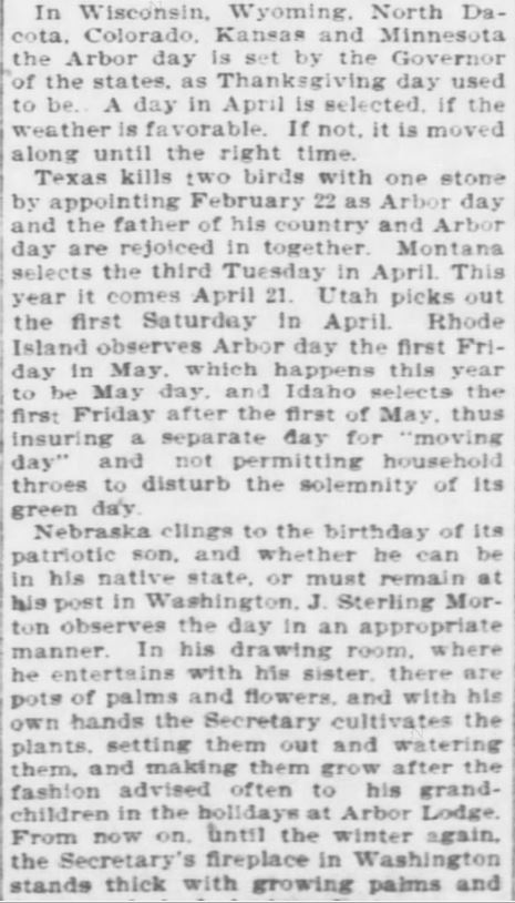 Arbor Day. Part 5. The Topeka Daily Capital. Topeka KS. 22 April 1896