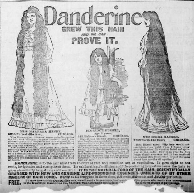 Kristin Holt | L-O-N-G Victorian Hair. Danderine Advertisement from St. Louis Post-Dispatch of Saint Louis, Missouri, on 29 May, 1904.