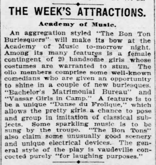 FARCE. Bachelor's Matrimonial bureau. Pittsburgh Daily Post. Pittsburg PA. 3 October 1897. Pg 11.