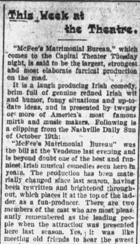 FARCE. McFee's at Capital Theater. Description. Daily Arkansas Gazette. Little Rock Arkansas. 28 November 1897 page 3
