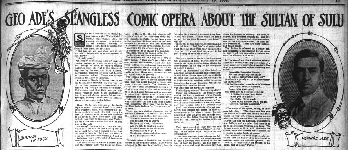 FARCE. Sultan Opera Overview pic. with matrimony bureau to marry off ex-wives. Chicago Daily Tribune. 18 January 1902. p 43