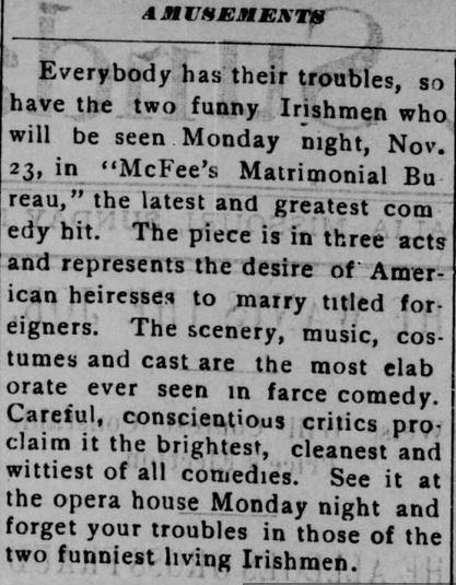 The Sedalia Democrat. Sedalia, Missouri on 22 November, 1896, pg 2.