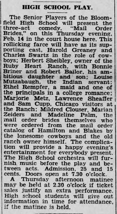 Mail Order Bride High School Play, reported in The Perry County Democrat of Bloomfield, Pennsylvania, on 13 February, 1935.