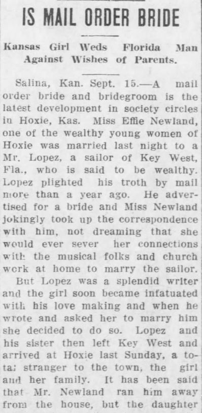Kristin Holt | Kansas Girl became infatuated with Florida Man's Love Making (term is obviously a G-rated definition, late 1800s). Part 1. The Leavenworth Post of Leavenworth, Kansas on 15 September, 1910.