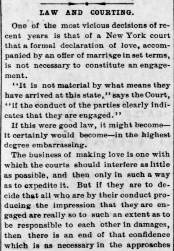 "Kristin Holt | Law and Courting, part 1. Shows, in context, Definition of Love Making was G-Rated at end of the 1800s. From St. Louis Post-Dispatch on December 31, 1893. ""The business of making love is one with which the courts should interfere as little as possible..."""