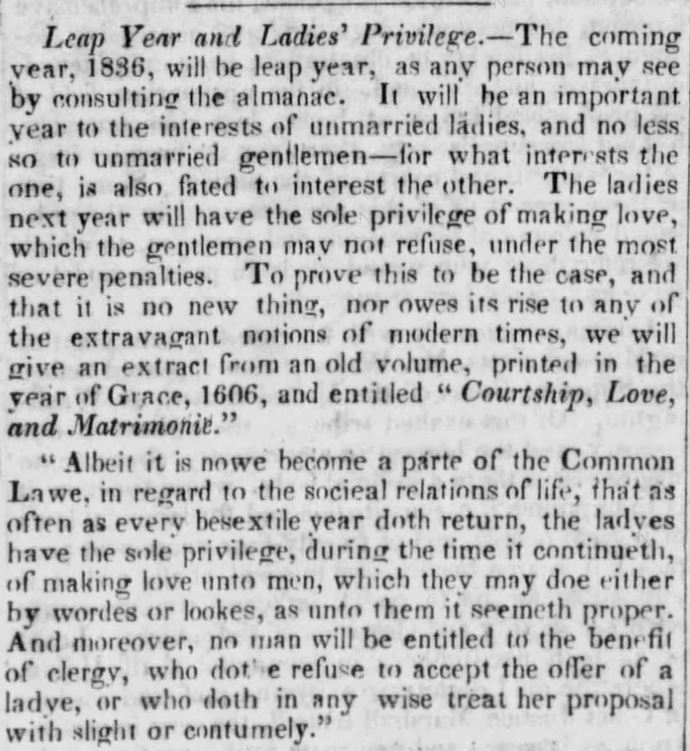 Opening 2 paragraphs of an article (including minimal header as was typical of the era) published in The Long-Island Star of Brooklyn, New York, on 15 December, 1835.