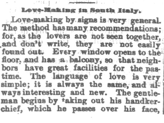 Kristin Holt | 1800s Love-making in South Italy, Part 1. From Chetopa Advance of Chetopa, Kansas on March 27, 1879.
